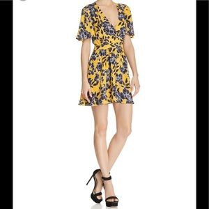 Olivaceous yellow floral print deep v neck dress.S